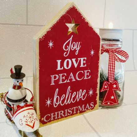 Rustic Plaque- Joy, Love, Peace, Believe Christmas